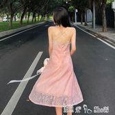 2018夏裝新款時尚性感純色V領低胸露肩修身顯瘦短露背蕾絲洋裝 「潔思米」