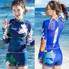 後背薄紗長袖衝浪二件式泳衣.兩件式2件式游泳衣成人浮潛衣潛水服分體防曬水母衣水母服運動服