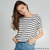 GIORDANO 女裝圓領可愛刺繡寬短版T恤-13 皎雪/標誌黑色