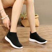 春夏新款彈力襪子鞋平底一腳蹬運動休閒女鞋飛織透氣旅游跑步學生 錢夫人