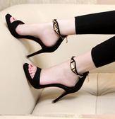 超高跟涼鞋 小清新露趾涼鞋女細跟高跟鞋性感黑色一字帶防水台女鞋  名購居家