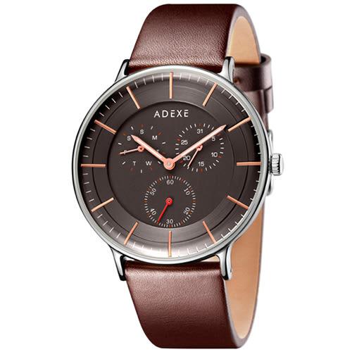 ADEXE 英國時尚手錶 THEY三眼系列 黑錶盤x銀錶框皮革錶帶41mm