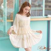 裙子 多片剪裁拼接蕾絲荷葉短裙-杏色-Ruby s露比午茶