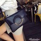 潮子母手提包圓環女包摺疊手拿包側背斜背包女士包包 黛尼時尚精品