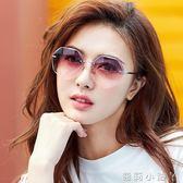 太陽鏡墨鏡女潮復古原宿風圓臉多邊形網紅太陽眼鏡無框 全館免運