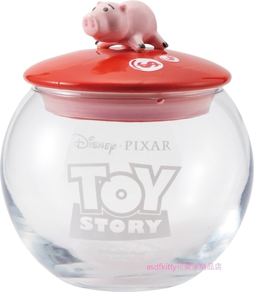 asdfkitty可愛家☆迪士尼玩具總動員 邪惡豬排博士 火腿豬玻璃收納罐/置物罐-日本正版商品