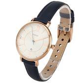 FOSSIL Jacqueline羅馬時標海軍藍皮革腕錶36mm(ES3843)270505