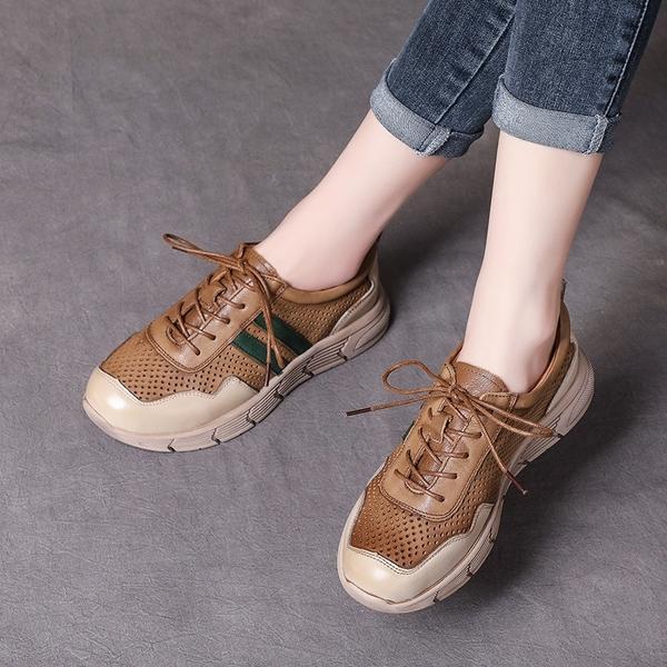 鏤空透氣休閒鞋 真皮手工女鞋 系帶平底鞋/2色-夢想家-標準碼-0412