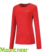 【Mountneer 山林 女款 圓領雲彩針織保暖衣《紅》】22P18/吸濕排汗/長袖衣
