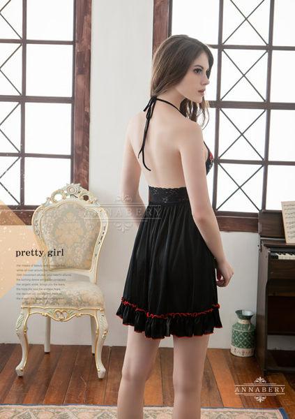 (特價) 大尺碼 Annabery黑系刺繡高質感柔緞睡衣 (OS小舖)