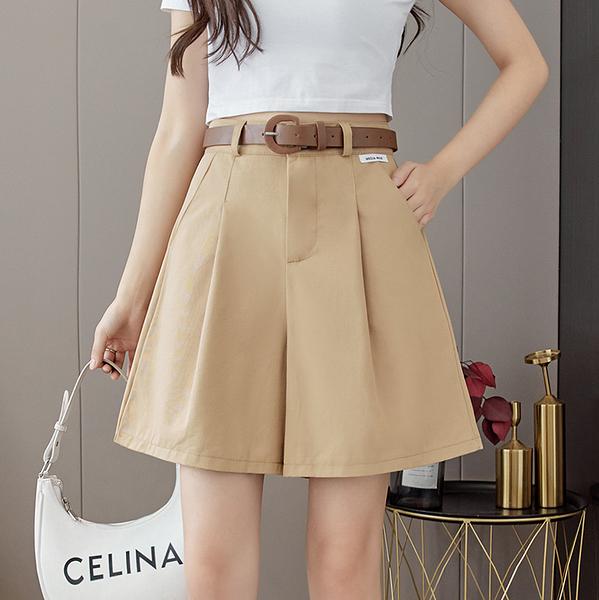 VK旗艦店 韓系時尚素色修身寬口短褲配腰帶單品短褲