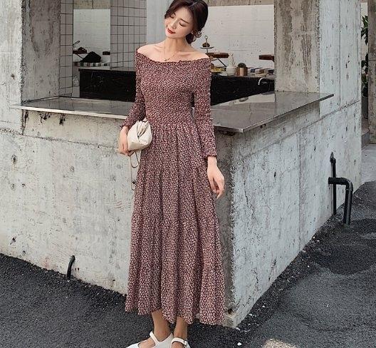 長洋裝連身裙一字肩S-XL很仙的法國小眾連衣裙碎花雪紡復古裙山本過膝長裙NE5247004.1號公館