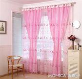 窗簾 定制歐韓式美容院隔斷簾兩層蕾絲紫色紗遮光陽台紗簾夏天客廳成品窗簾 莫妮卡小屋