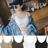 Queen Shop【01041554】簡約素色可調肩帶半截背心 四色售*現+預*