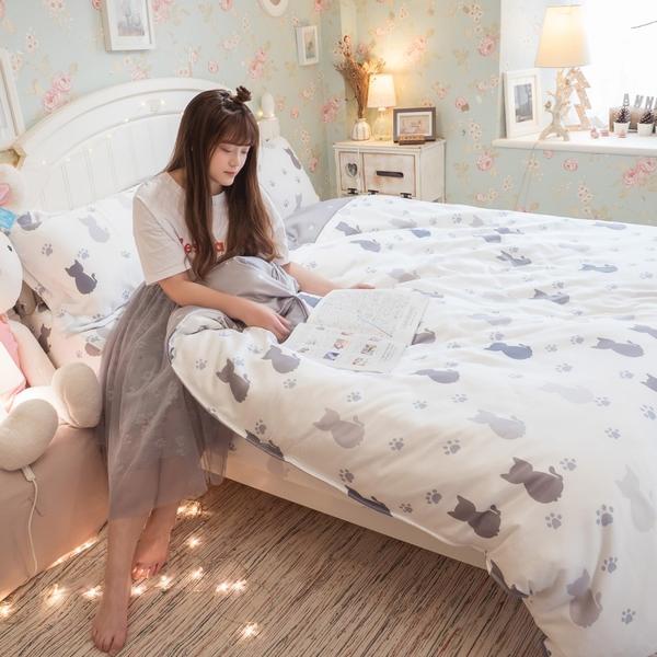 天絲床組 紫貓月 Q4雙人加大薄床包與兩用被四件組 台灣製 (40支)100%天絲 棉床本舖