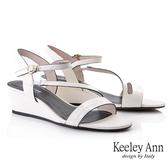 Keeley Ann夏季定番 鱷魚紋環繞帶楔型涼鞋(米白色) -Ann系列