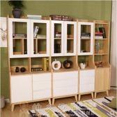 書櫃 書架 收納 實木書櫃白色兒童組合創意客廳帶門收納儲物多層北歐簡約式落地架 DF 免運