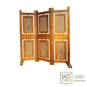 【吉迪市柚木家具】全柚木格狀鉚釘造型屏風 DSOT002A 全柚木格狀鉚釘造型屏風