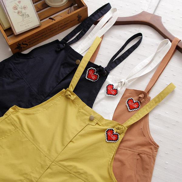 吊帶褲 日森純色童趣愛心三色-月兒的綺麗莊園