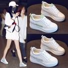 小白鞋 女內增高2021春季透氣新款韓版牛皮厚底8cm 伊莎公主