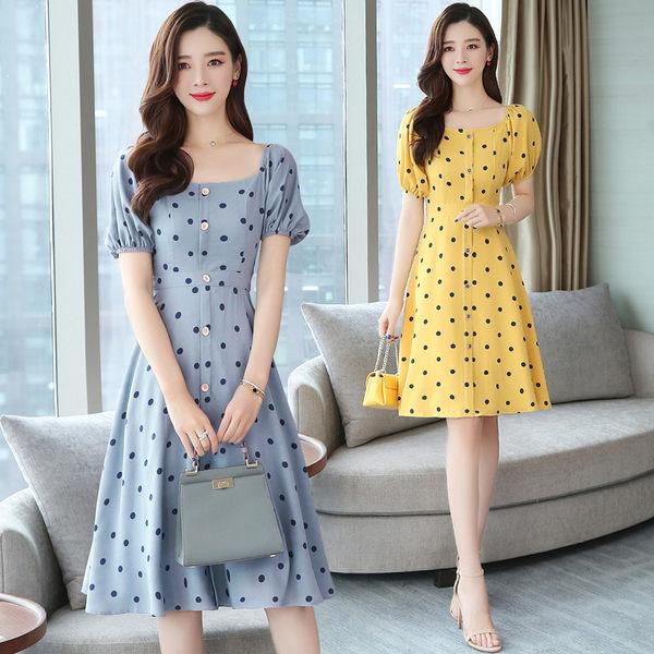 VK旗艦店 韓國風時尚復古氣質波點印花雪紡短袖洋裝