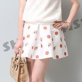 【SHOWCASE】俏麗點點 性感女孩波浪褶裙(白)
