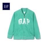 Gap女嬰幼童 Logo立領長袖短款休閒上衣 419363-亮草綠色