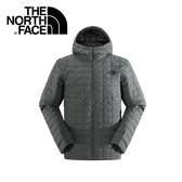 【The North Face 男款 ThermoBall保暖兜帽外套 電路箱灰雜紋】C938/兜帽夾克/大衣/風衣