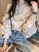 蕾絲打底襯秋裝2020年新款女長袖上衣洋氣蕾絲拼接襯衫女設計感小眾打底襯衣 新品