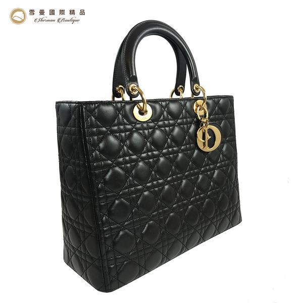 【雪曼國際精品】Christian Dior LADY DIOR經典小羊皮經典黛妃包~二手商品9成新
