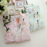 春夏新款日系女式純棉雙紗大花汗蒸睡衣套裝