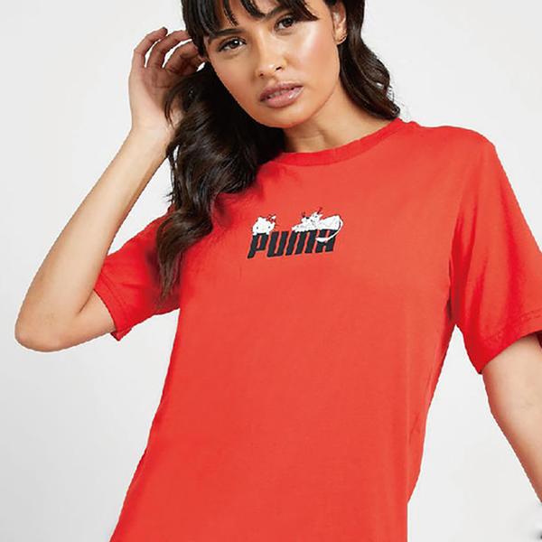 PUMA X HELLO KITTY 聯名流行系列 女裝 短袖 休閒 T恤 圓領 紅【運動世界】59714199