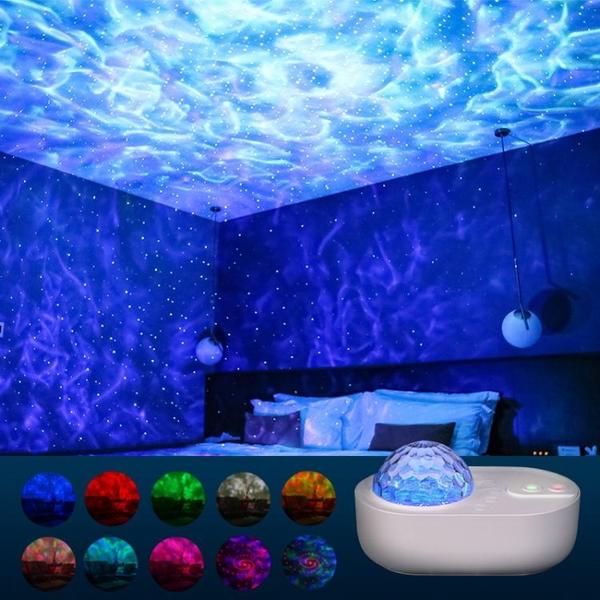投影燈 浪漫星空投影燈插電無線藍牙音箱遙控氛圍燈情侶床頭燈臥室投影儀 韓菲兒