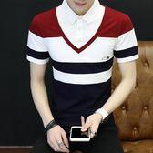 短袖POLO衫 夏季T恤男修身假兩件純棉打底上衣《印象精品》t120