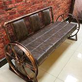 發廊等候椅子理發店沙發等候椅復古等候椅美發店候客椅等候沙發椅QM『櫻花小屋』