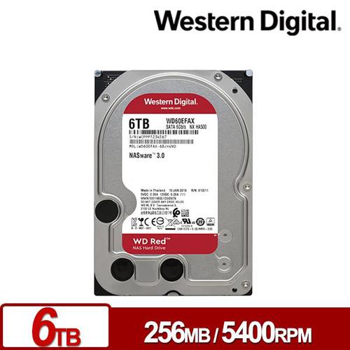 WD 紅標 6TB 3.5吋 SATA NAS硬碟 WD60EFAX