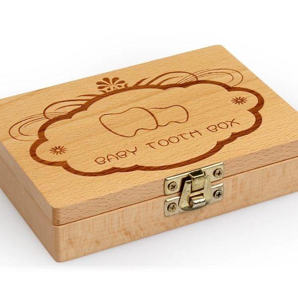 寶寶換牙紀念盒木制兒童胎毛乳牙盒男孩牙齒收藏盒女孩保存紀念盒【快速出貨】
