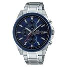 CASIO EDIFICE 三針三眼素雅計時碼錶(EFV-610DB-2A)-藍x48mm