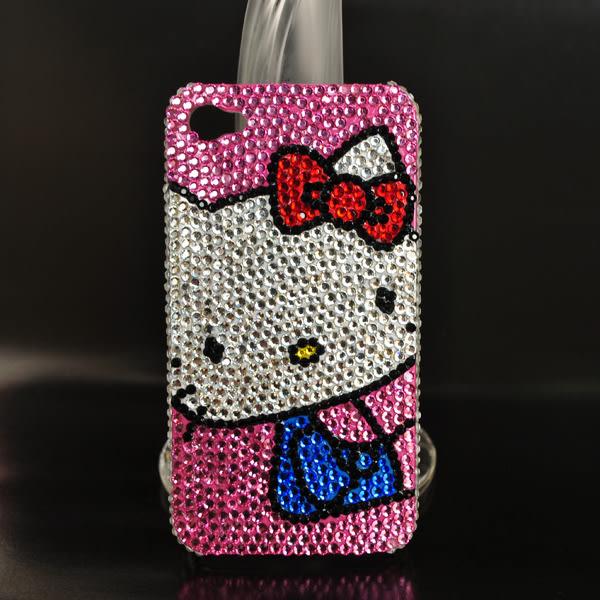 ☆Deluxe☆時尚新潮~Hello Kitty造型手工水晶鑲崁iPhone專用手機殼★粉水晶 / 限量版
