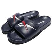 Reebok 拖鞋 Classic Slide 藍 深藍 白 基本款 復古 大LOGO 舒適好穿 男鞋 女鞋【ACS】 CN0211
