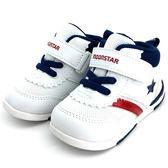 《7+1童鞋》日本月星 MOONSTAR   魔鬼氈   機能  半筒  學步運動鞋  C435 白色