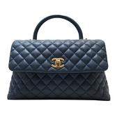 CHANEL 香奈兒 藍色牛皮魚子醬手提肩背包 Flap Bag With Top Handle Bag【BRAND OFF】