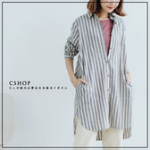 長版衫  古著氣質直條長版襯衫  單色-小C館日系