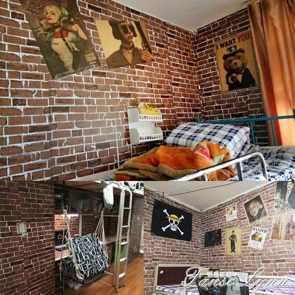 復古仿磚壁紙宿舍大學生女寢室牆紙臥室溫馨貼紙臥室裝飾10米 HM  范思蓮恩