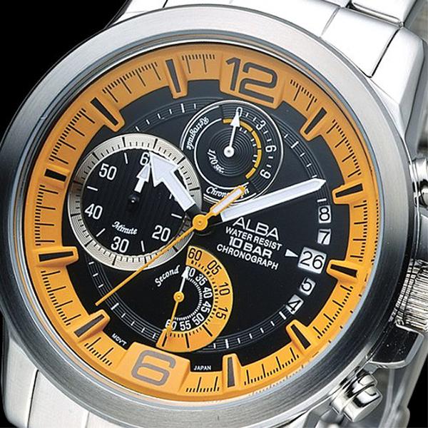 ALBA 特種精英逆跳計時男錶-橘+黑(AS6039X1)