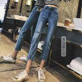 黑五好物節❤牛仔褲女夏2018新款韓版直筒褲INS超火九分褲顯瘦微喇七分褲