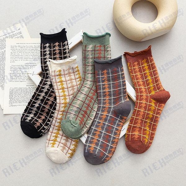 日系復古原宿秋冬千鳥格中筒襪子卷邊森系長筒棉襪子