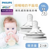 Philips AVENT飛利浦新安怡 親乳感防脹氣奶嘴雙入裝-慢流量(1M+)