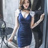 現貨藍S洋裝OL氣質V領抽褶修身包臀立體裝飾時尚連身裙23279