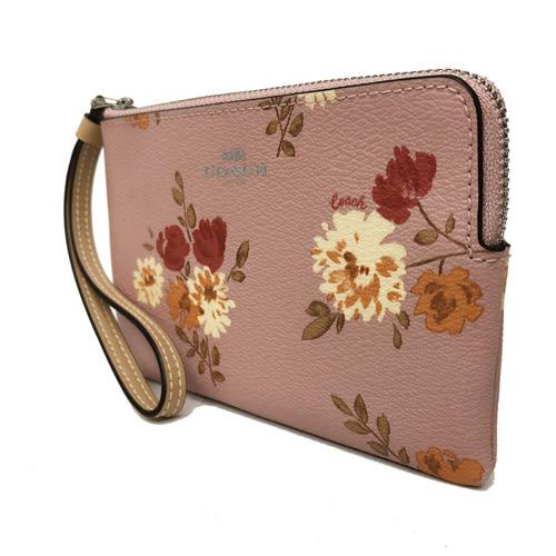 【COACH】經典LOGO PVC皮革花卉手拿包零錢包(花卉粉)